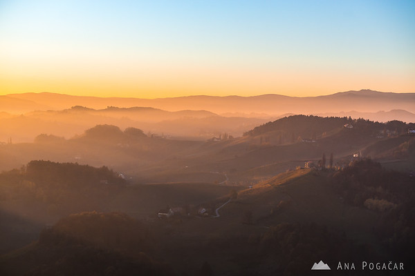 Sunset from the Plač Tower (Plački stolp), Slovenske gorice region