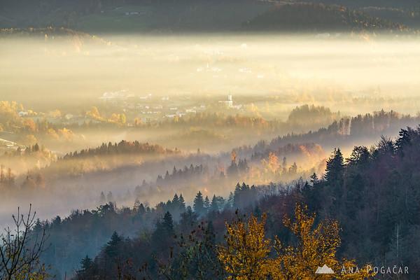 Sunrise from Stari grad hill above Kamnik