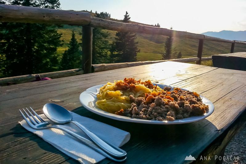 A phone photo of my delicious dinner: buckwheat mush and sauerkraut. :)