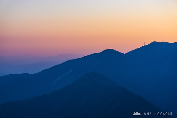 Looking towards Krvavec and beyond from Velika planina after sunset