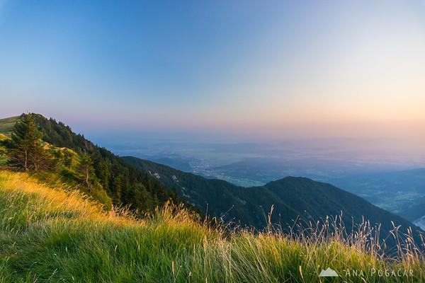 Velika planina at sunset, looking towards Kamnik