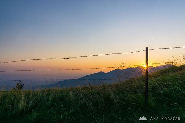 Velika planina at sunset