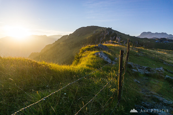 Velika planina just before sunset