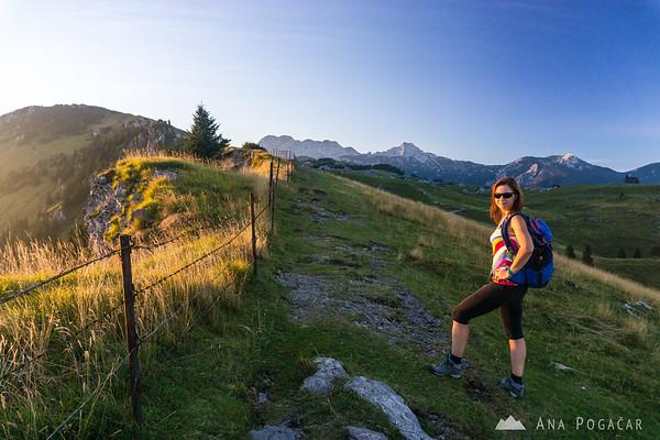 Ana on Velika planina just before sunset