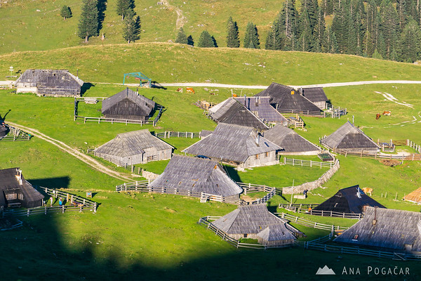 The shepherd's village from Gradišče, the top of Velika planina at 1666 meters above sea level