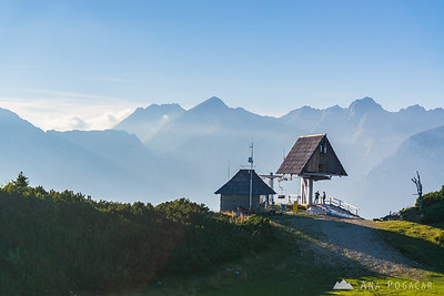 Top chairlift station on Velika planina with the Kamnik Alps in the background: Mts. Kočna, Grintovec and Skuta.