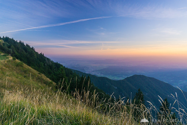 Views from Velika planina after sunset