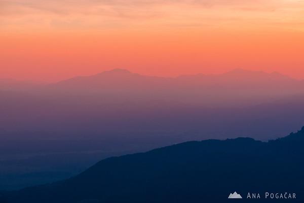 Colorful sunset from Velika planina