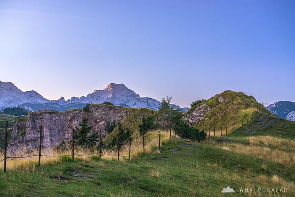 Last sun rays on Mt. Ojstrica from Velika planina