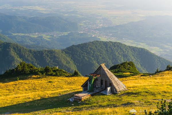 View south from Gradišče, the top of Velika planina at 1666 meters above sea level
