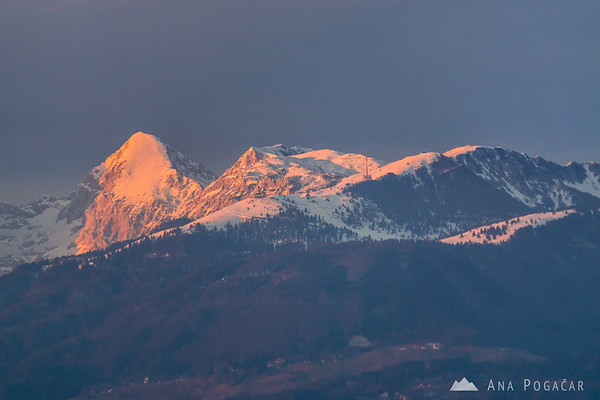 The Kamnik Alps at sunset