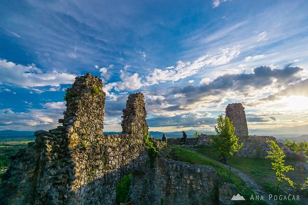 Stari grad castle above Kamnik on a sunny spring afternoon