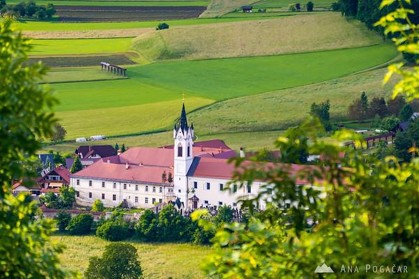 Views from Stari grad castle above Kamnik on a sunny spring afternoon: Mekinje monastery
