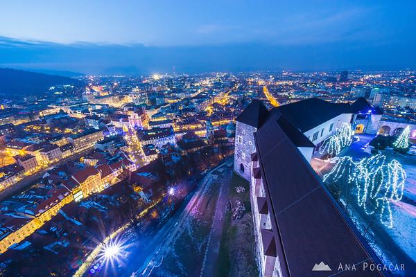 Views from Ljubljana Castle at dusk