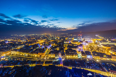 From Ljubljana Castle at dusk - Jan 7, 2015