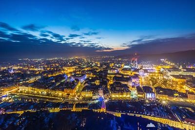 From Ljubljana Castle at dusk - Jan 7, 2015