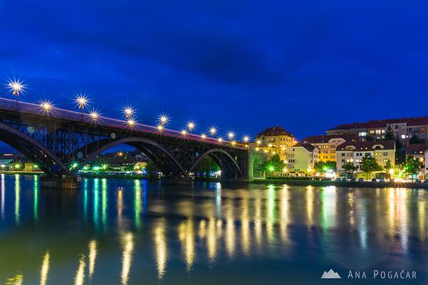 Maribor at the blue hour: The Main Bridge over the Drava River