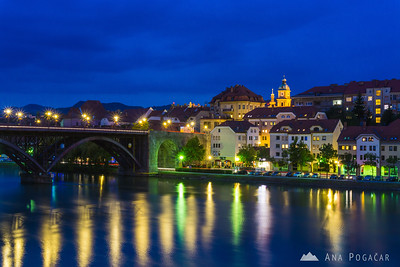 Maribor at the blue hour: The Main Bridge over the Drava River
