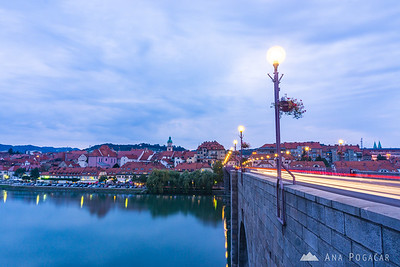 Maribor lent from the Main Bridge at the blue hour