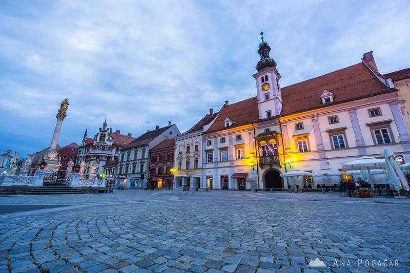 Maribor main square at the blue hour