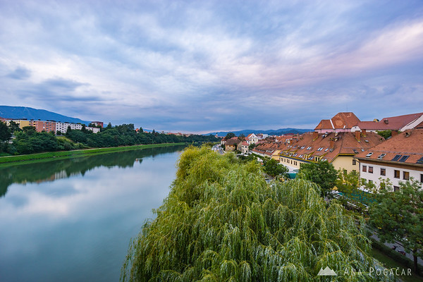 Maribor on a cloudy afternoon from the Main Bridge over the Drava River