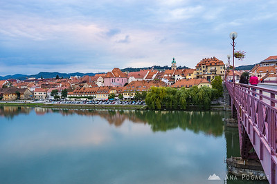Maribor on a cloudy afternoon: The Main Bridge over the Drava River