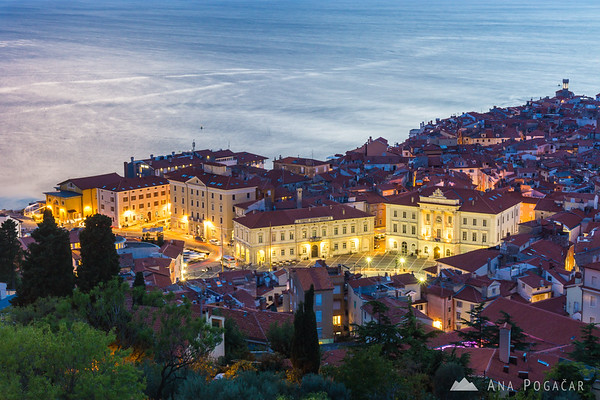 Views from the city walls in Piran at dusk
