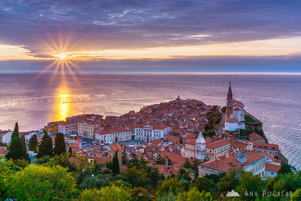 Views from the city walls in Piran around sunset
