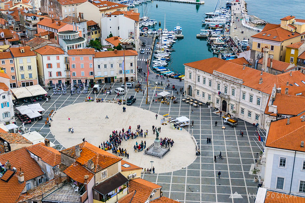 Views from the bell tower of St. George's Parish Church in Piran
