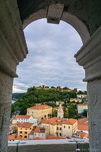 Views of the city walls from the bell tower of St. George's Parish Church in Piran