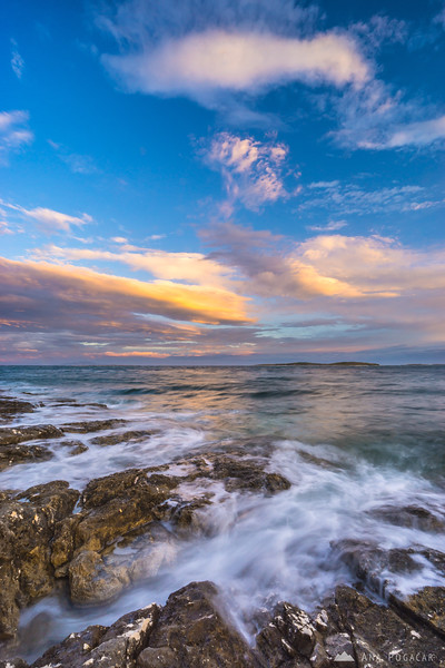 After sunset long exposure on the coast near Stupice campground in Premantura, Croatia