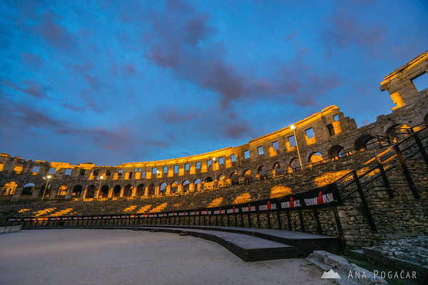 Roman amphitheater/arena in Pula at sunset