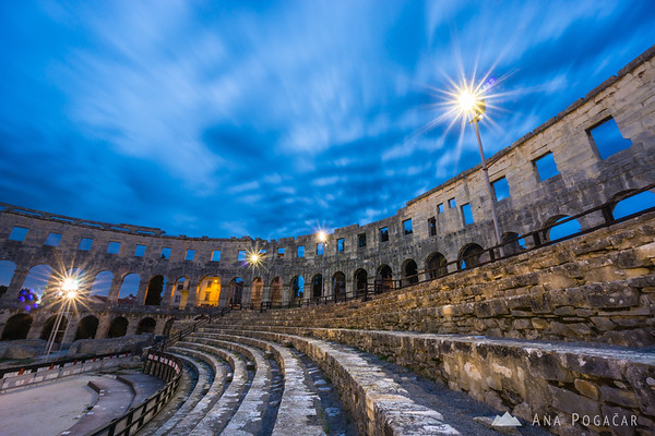 Roman amphitheater/arena in Pula at dusk