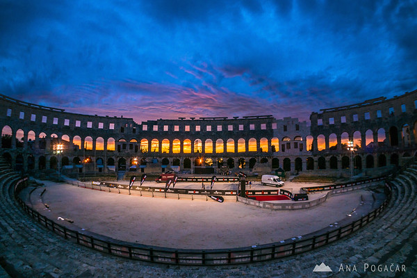 Roman amphitheater/arena in Pula after sunset
