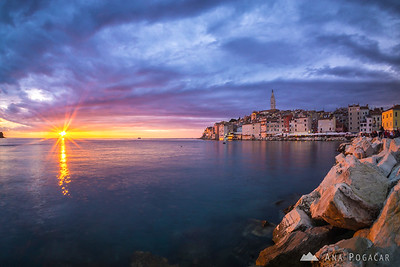 Colorful sunset in Rovinj