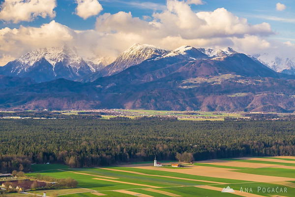 Views from Smlednik castle with the Kamnik Alps in the background