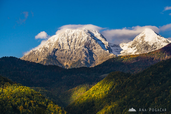 Mts. Kočna and Grintovec with a dusting of snow from Cerklje