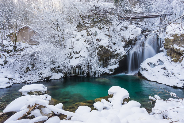 Vintgar Gorge near Bled on a snowy winter day