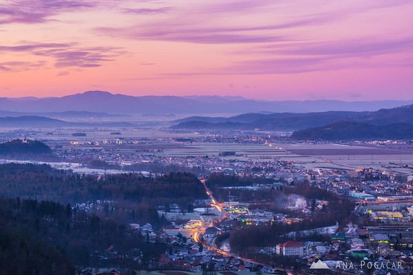 Sunrise from the Stari grad hill above Kamnik on a winter morning