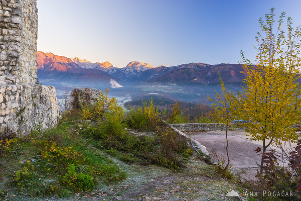 Sunrise from Stari grad hill above Kamnik