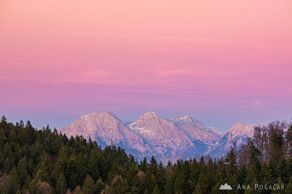 The Kamnik Alps from Črni vrh after sunset