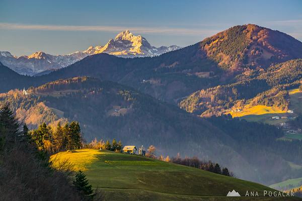 Mt. Triglav from Črni vrh on a sunny winter afternoon