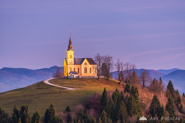 St. Lenart church from Črni vrh at dusk