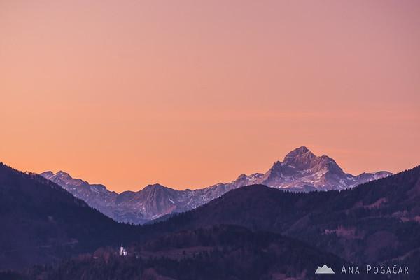 Mt. Triglav from Črni vrh after sunset