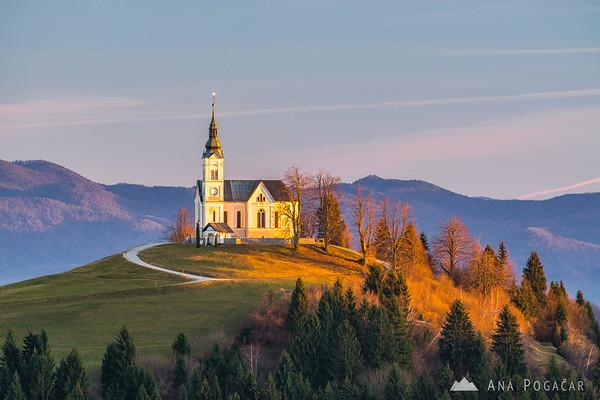 St. Lenart church from Črni vrh at sunset