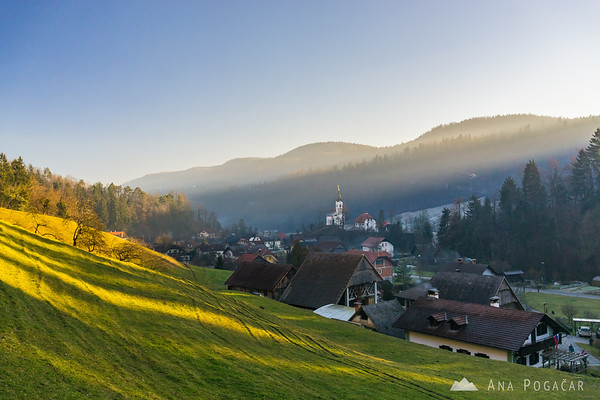 Village of Podlipa in late afternoon sun rays