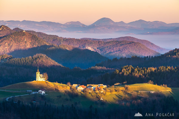 Sv. Andrej church from Goli vrh at sunset