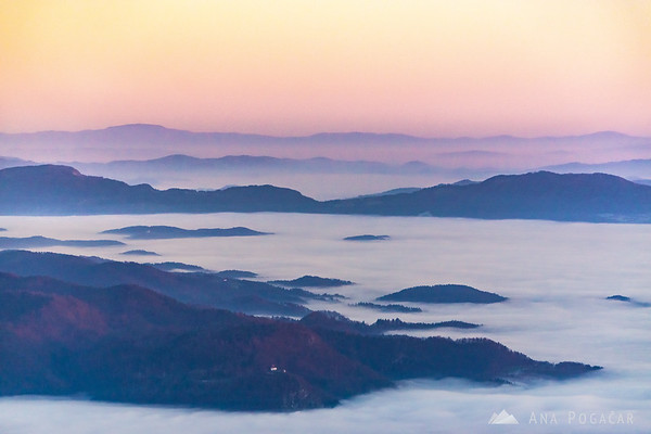 Sunset from Planina Jezerca.