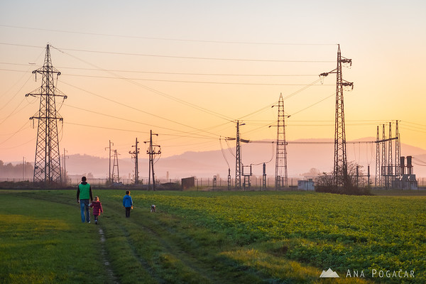 Power lines on the fields between Kamnik and Podgorje