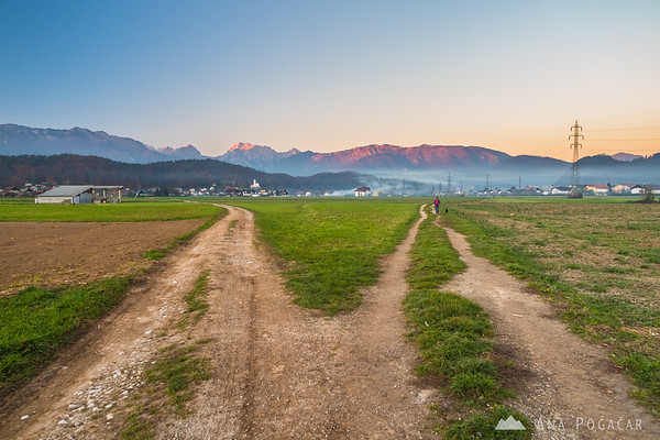 Kamnik and the Kamnik Alps from the fields between Kamnik and Podgorje at sunset